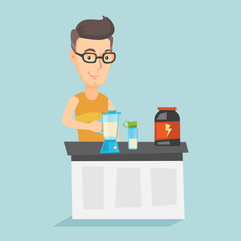 Caucasian man preparing protein cocktail of bodybuilding food supplements. Sportsman making protein shake using blender. Man cooking protein cocktail. Vector flat design illustration. Square layout.