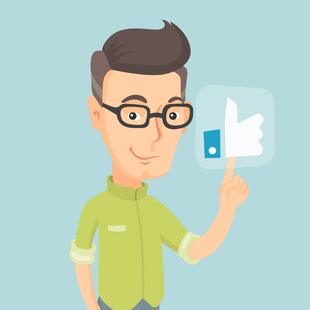 Caucasian man pressing modern social like button with thumb up. Adult happy man pressing like button. Smiling man pressing social network like button. Vector flat design illustration. Square layout.