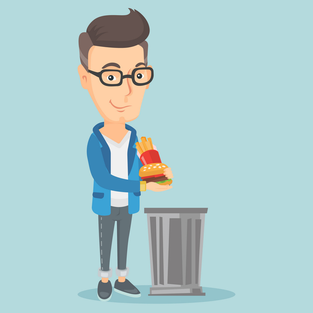 Caucasian man putting junk food into a trash bin. Adult man refusing to eat junk food. Man rejecting junk food. Man throwing junk food. Diet concept. Vector flat design illustration. Square layout.
