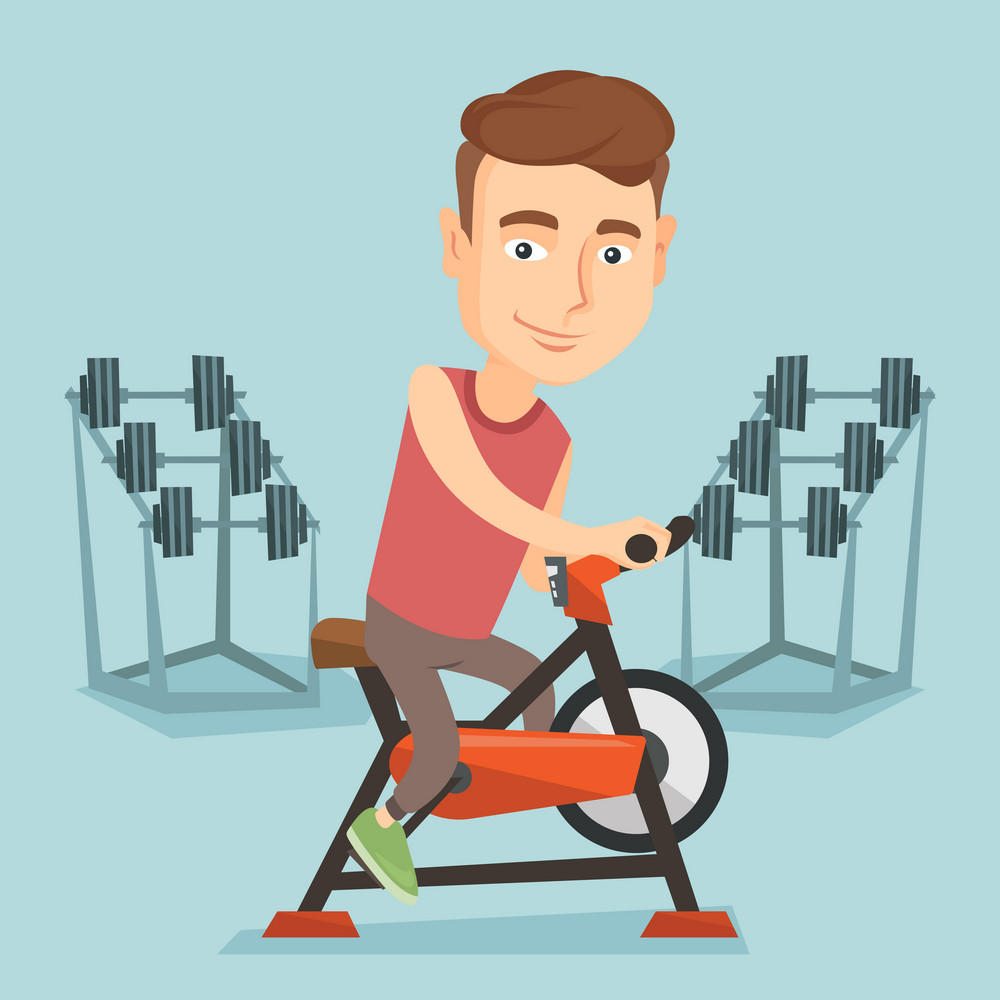 Caucasian man riding stationary bicycle in the gym. Sporty man exercising on stationary training bicycle. Young man training on exercise bicycle. Vector flat design illustration. Square layout.