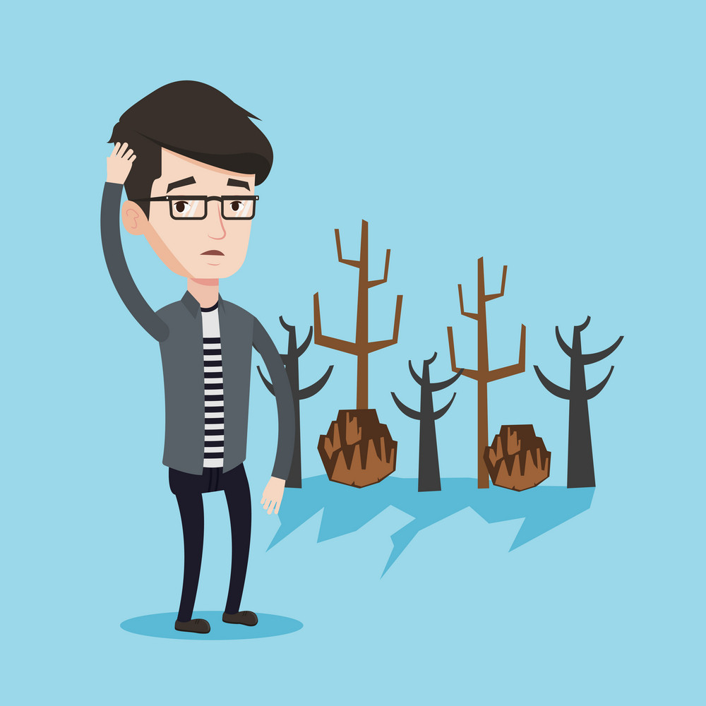 Caucasian man scratching his head on a background of dried trees. Dead forest caused by global warming or wildfire. Concept of environmental destruction. Vector flat design illustration. Square layout