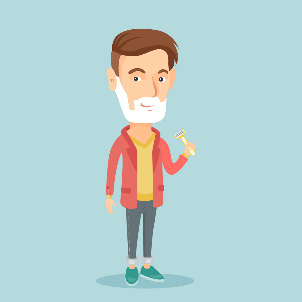 Caucasian man shaving his face. Young man with shaving cream on face and razor in hand. Man prepping face for daily shaving. Concept of daily hygiene. Vector flat design illustration. Square layout.