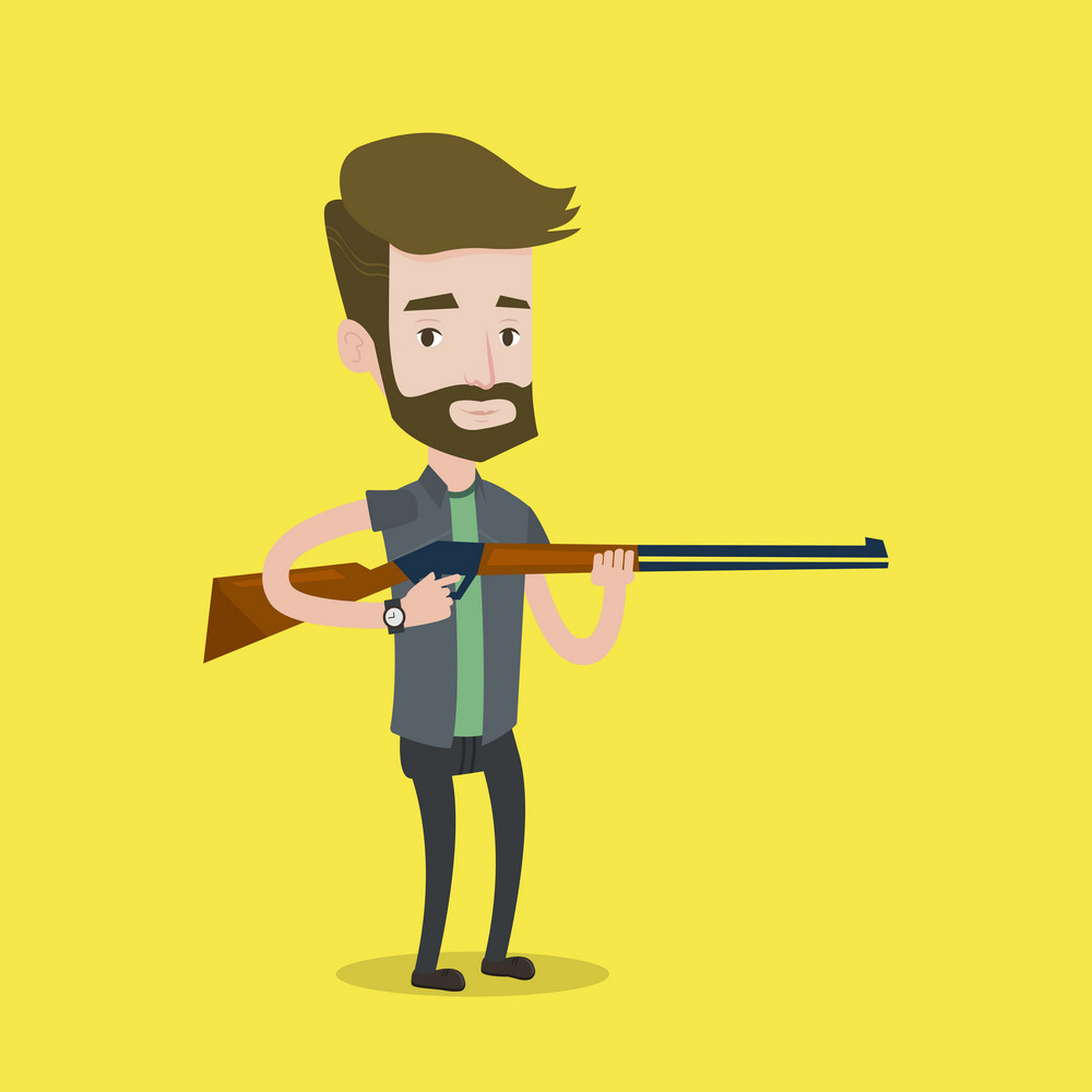 Caucasian man shooting skeet with shotgun. Hunter ready to hunt with hunting rifle. Hipster man aiming with a hunter gun. Hunter holding a long rifle. Vector flat design illustration. Square layout.