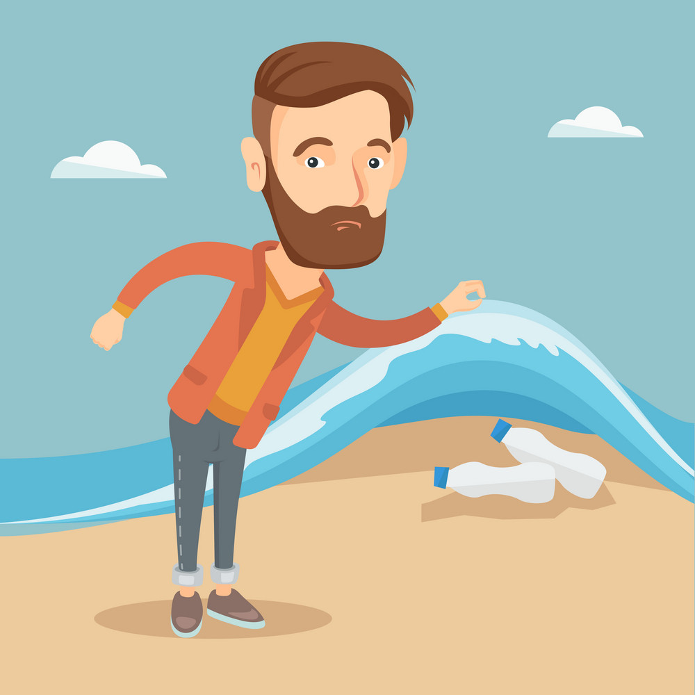 Caucasian man showing plastic bottles under water of sea. Man collecting plastic bottles from water. Water pollution and plastic pollution concept. Vector flat design illustration. Square layout.