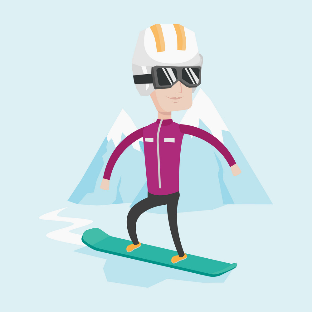 Caucasian man snowboarding on the background of snow capped mountain. Snowboarder on piste in mountains. Young man snowboarding in the mountains. Vector flat design illustration. Square layout.