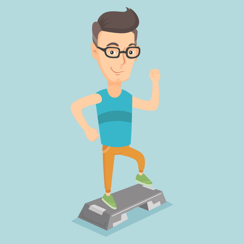 Caucasian man training with stepper in the gym. Young man doing step exercises. Man working out with stepper in the gym. Sportsman standing on stepper. Vector flat design illustration. Square layout.