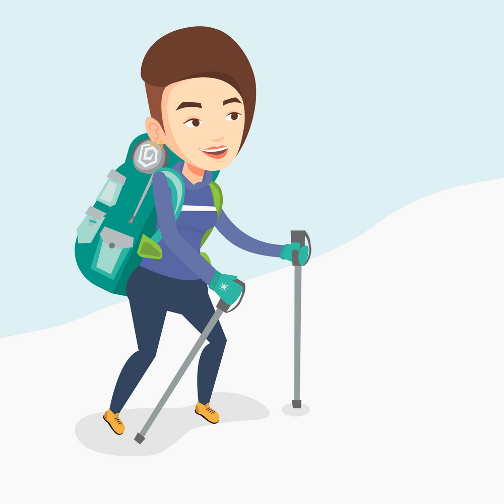 Caucasian mountaineer climbing a snowy ridge. Young female mountaineer climbing a mountain. Mountaineer with backpack walking up along a snowy ridge. Vector flat design illustration. Square layout.