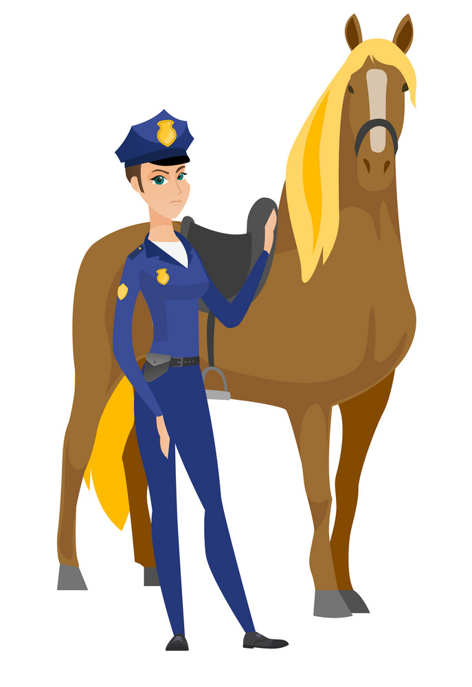 Caucasian mounted police officer standing near horse. Full length of serious police officer with a horse. Young police officer and horse. Vector flat design illustration isolated on white background.