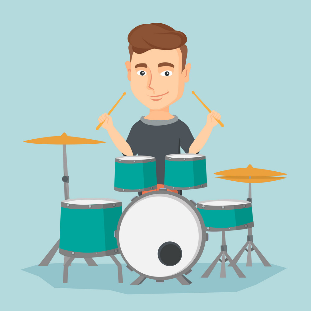 Caucasian mucisian playing on drums. Young mucisian playing on drums. Smiling young man playing on drum kit. Happy man sitting behind the drum kit. Vector flat design illustration. Square layout.