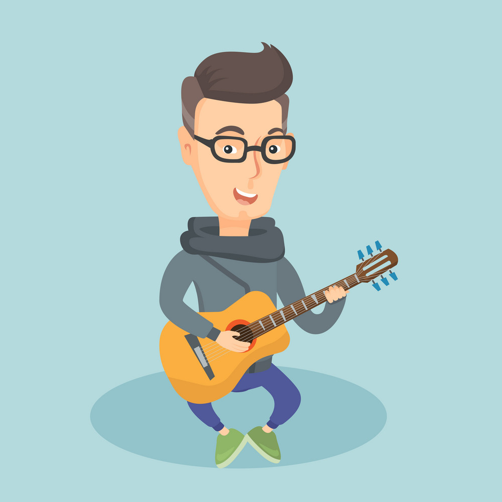 Caucasian musician playing an acoustic guitar. Friendly musician sitting with guitar in hands. Adult happy guitarist practicing in playing guitar. Vector flat design illustration. Square layout.