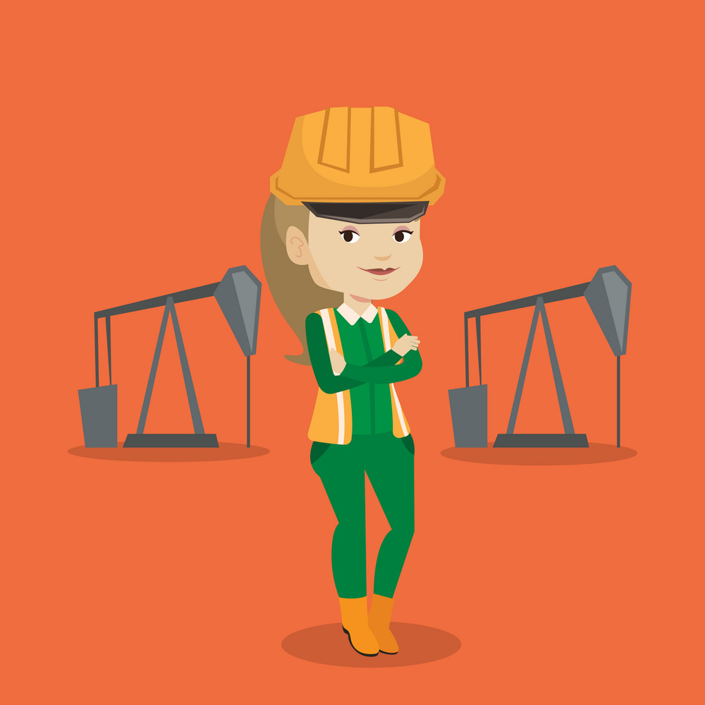 Caucasian oil worker in uniform and helmet. Confident oil worker standing with crossed arms. Female oil worker standing on the background of pump jack. Vector flat design illustration. Square layout.