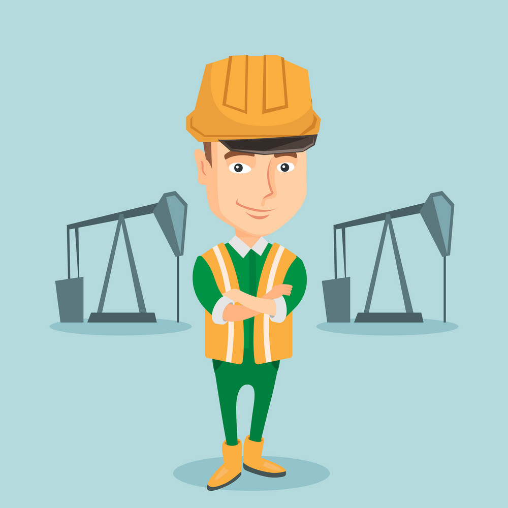 Caucasian oil worker in uniform and helmet. Confident oil worker standing with crossed arms. Smiling oil worker standing on the background of pump jack. Vector flat design illustration. Square layout.
