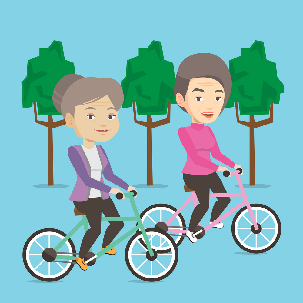 Caucasian old women riding bikes in park. Senior women riding on bicycles in park. Retired women biking. Senior ladies enjoying walk with bicycles. Vector flat design illustration. Square layout.