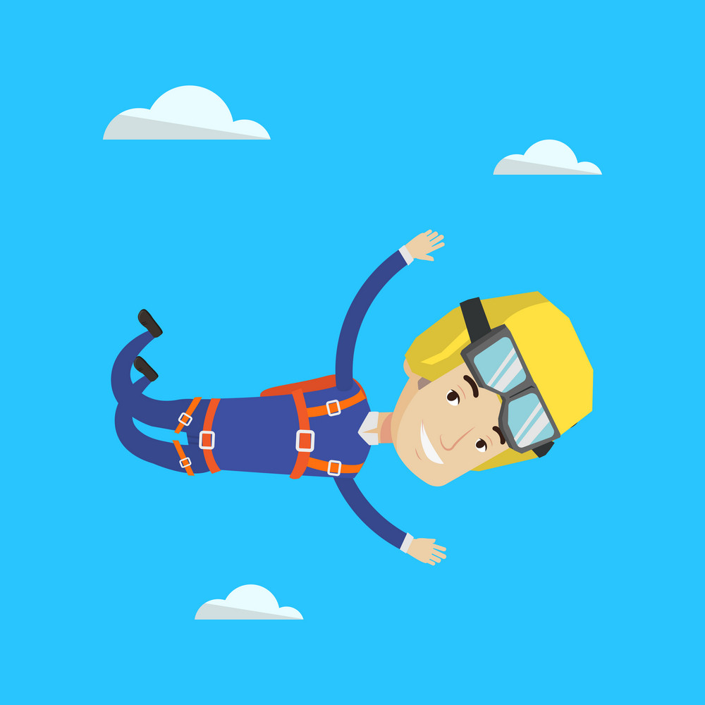 Caucasian parachutist jumping with parachute. Professional male parachutist falling through the air. Happy young man flying with parachute in clouds. Vector flat design illustration. Square layout.