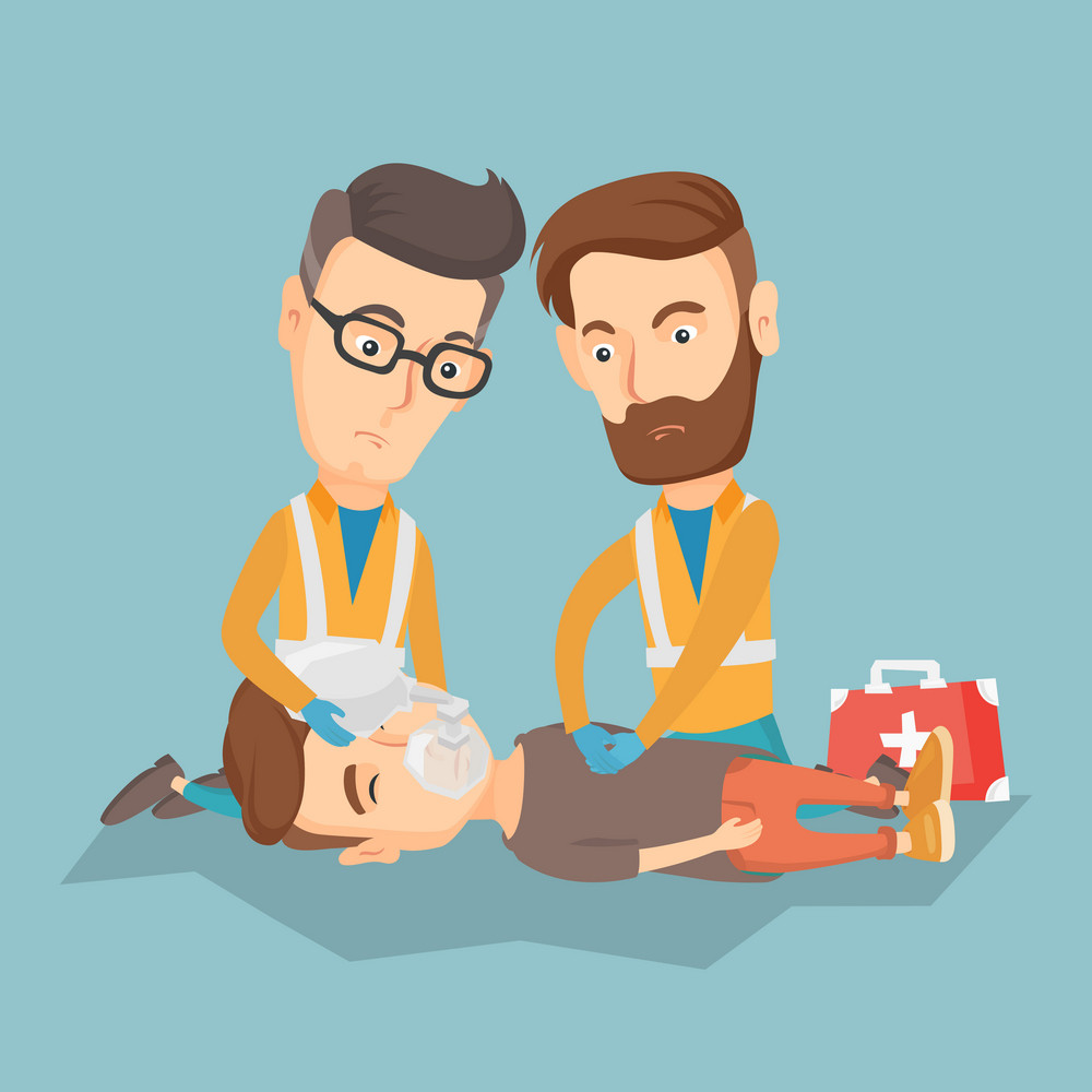 Caucasian paramedics doing cardiopulmonary resuscitation of a man. Team of young emergency doctors during process of resuscitation of an injured man. Vector flat design illustration. Square layout