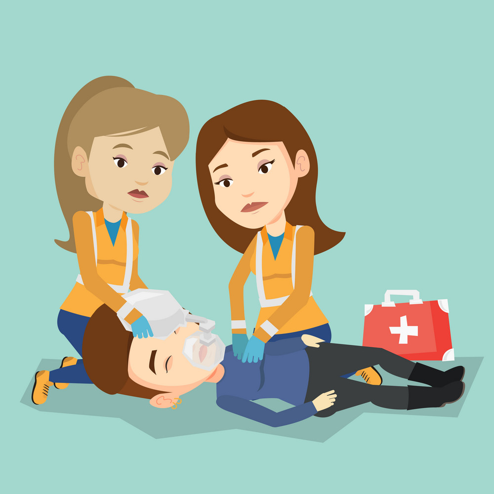 Caucasian paramedics doing cardiopulmonary resuscitation of a woman. Team of young emergency doctors during process of resuscitation of an injured woman. Vector flat design illustration. Square layout