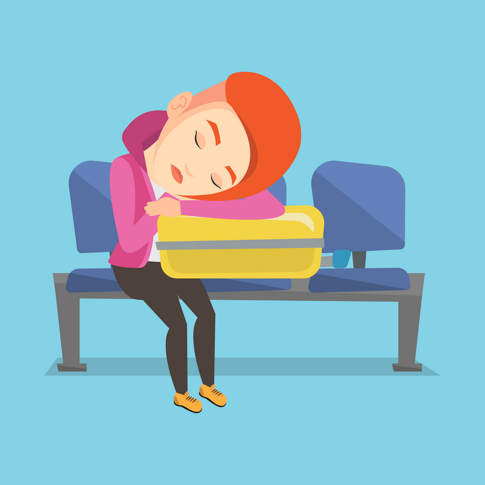 Caucasian passenger sleeping on luggage in airport. Exhausted woman sleeping on suitcase at airport. Woman waiting for flight and sleeping on suitcase. Vector flat design illustration. Square layout.