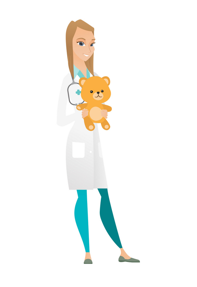 Caucasian pediatrician doctor holding a teddy bear. Pediatrician standing with a teddy bear. Young female pediatrician in medical gown. Vector flat design illustration isolated on white background.