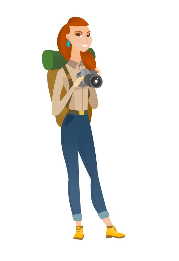 Caucasian photographer with digital camera. Travel photographer with digital camera making photo. Woman traveler with digital camera. Vector flat design illustration isolated on white background.