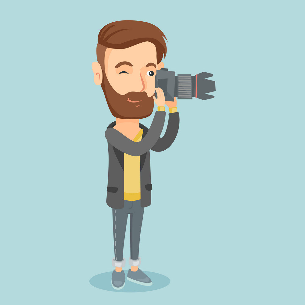 Caucasian photographer working with digital camera. Hipster photographer with beard taking a photo. Young photographer taking a picture. Vector flat design illustration. Square layout.
