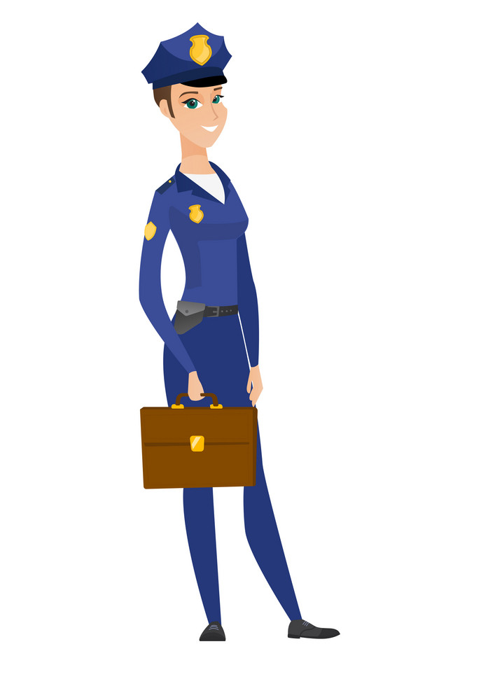 Caucasian police woman holding briefcase. Full length of young police woman with briefcase. Widely smiling police woman holding briefcase. Vector flat design illustration isolated on white background.