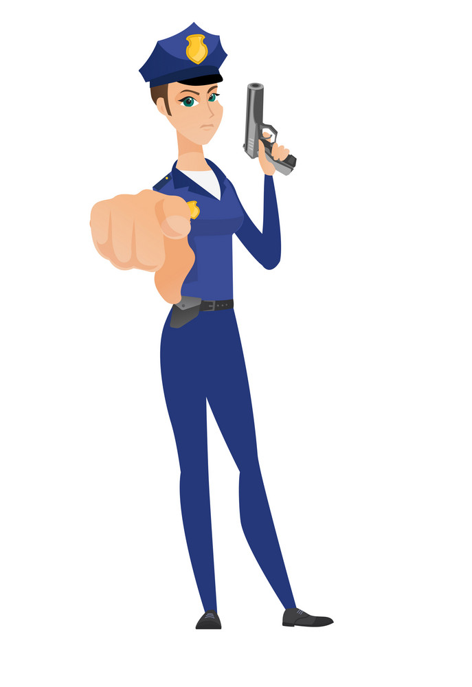 Caucasian police woman holding handgun ready for use and pointing finger at you. Full length of serious police woman posing with handgun. Vector flat design illustration isolated on white background.
