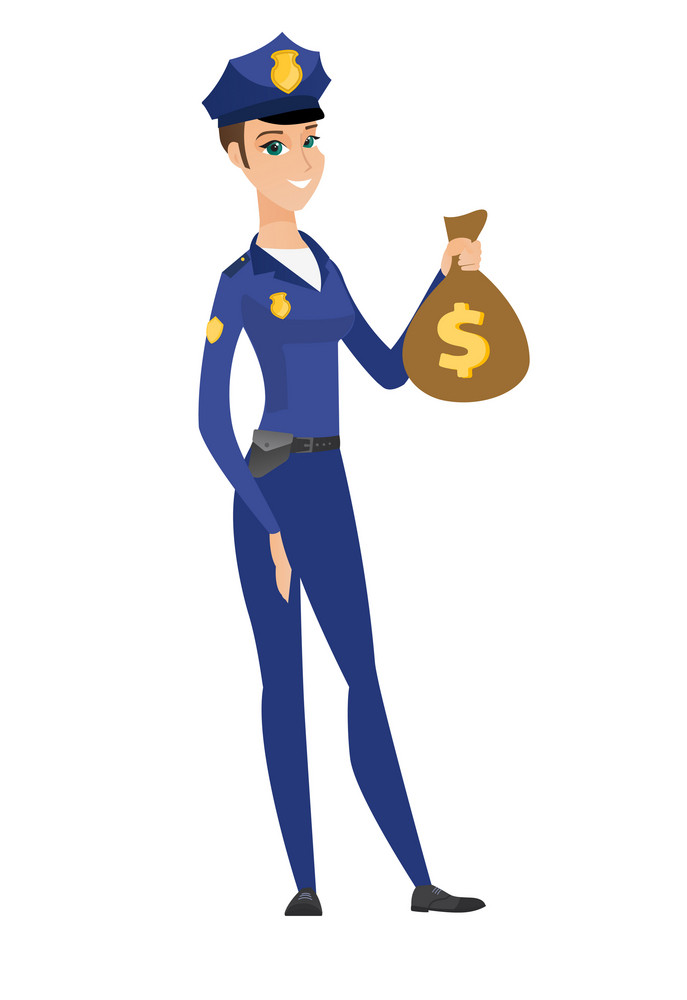 Caucasian police woman showing money bag with dollar sign. Full length of police woman with money bag. Police woman holding money bag. Vector flat design illustration isolated on white background.