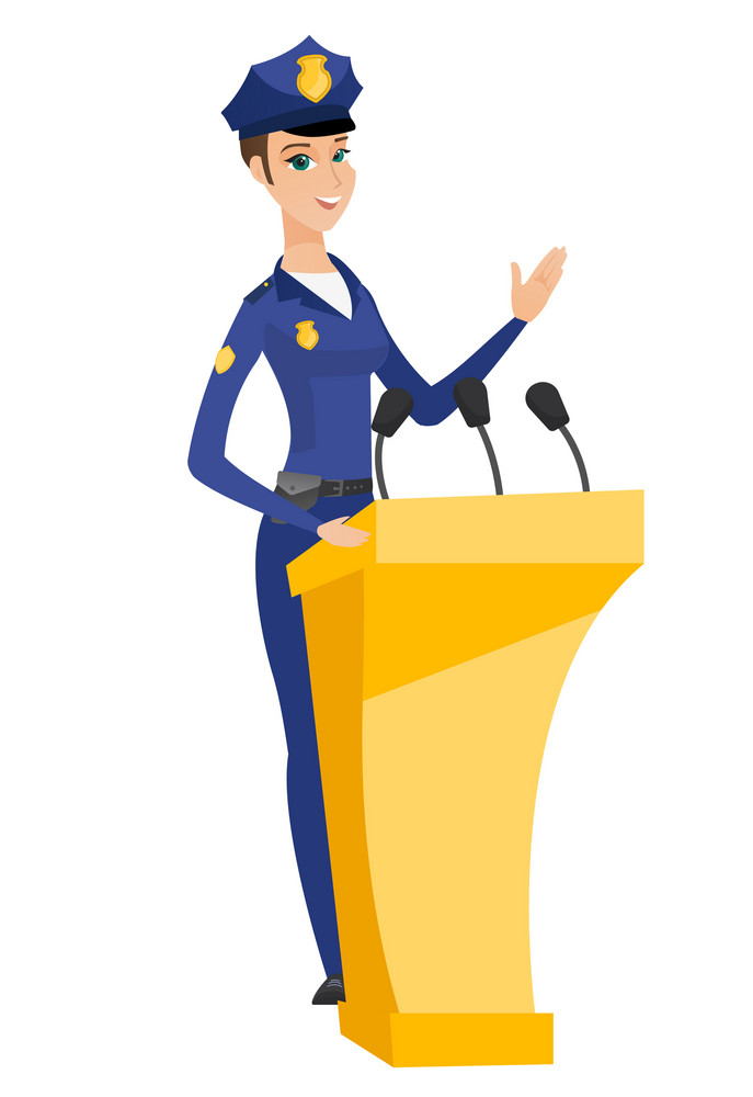 Caucasian police woman speaking to audience from tribune. Police woman standing behind the tribune with microphones and giving a speech. Vector flat design illustration isolated on white background.