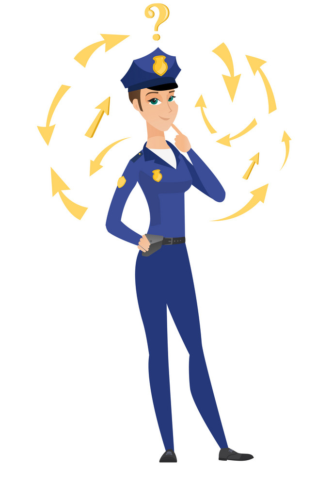 Caucasian police woman thinking about the investigation of a crime. Full length of police woman thinking about the version of the crime. Vector flat design illustration isolated on white background.