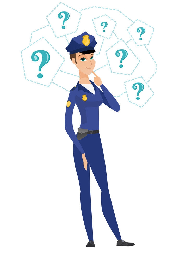 Caucasian police woman thinking. Thinking police woman standing under question marks. Thinking police woman surrounded by question marks. Vector flat design illustration isolated on white background.