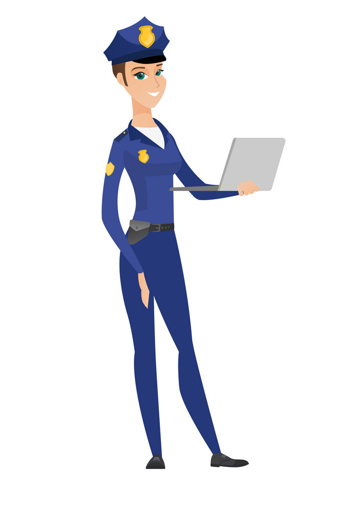 Caucasian police woman using laptop. Full length of young smiling police woman working on a laptop. Cheerful police woman holding laptop. Vector flat design illustration isolated on white background.