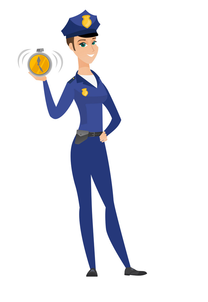 Caucasian policewoman showing ringing alarm clock. Full length of policewoman with alarm clock. Happy policewoman holding alarm clock. Vector flat design illustration isolated on white background