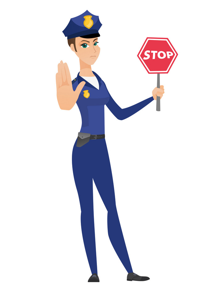 Caucasian policewoman showing stop road sign. Full length of policewoman holding stop road sign. Serious policewoman with stop road sign. Vector flat design illustration isolated on white background.