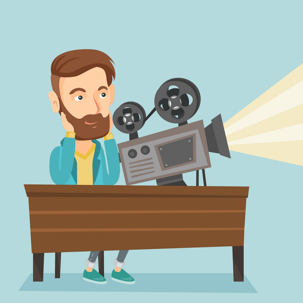 Caucasian projectionist showing new film. Hipster man sitting at the table with film projector in the room of projectionist. Young projectionist at work. Vector flat design illustration. Square layout