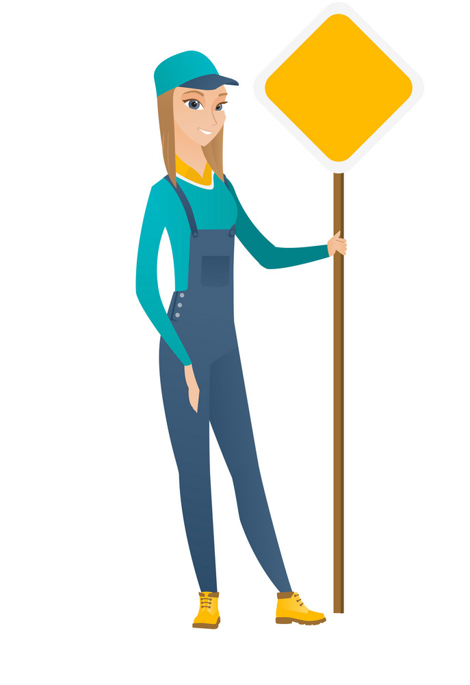 Caucasian road worker showing road sign. Full length of young female road worker standing near road sign. Female worker with traffic sign. Vector flat design illustration isolated on white background.