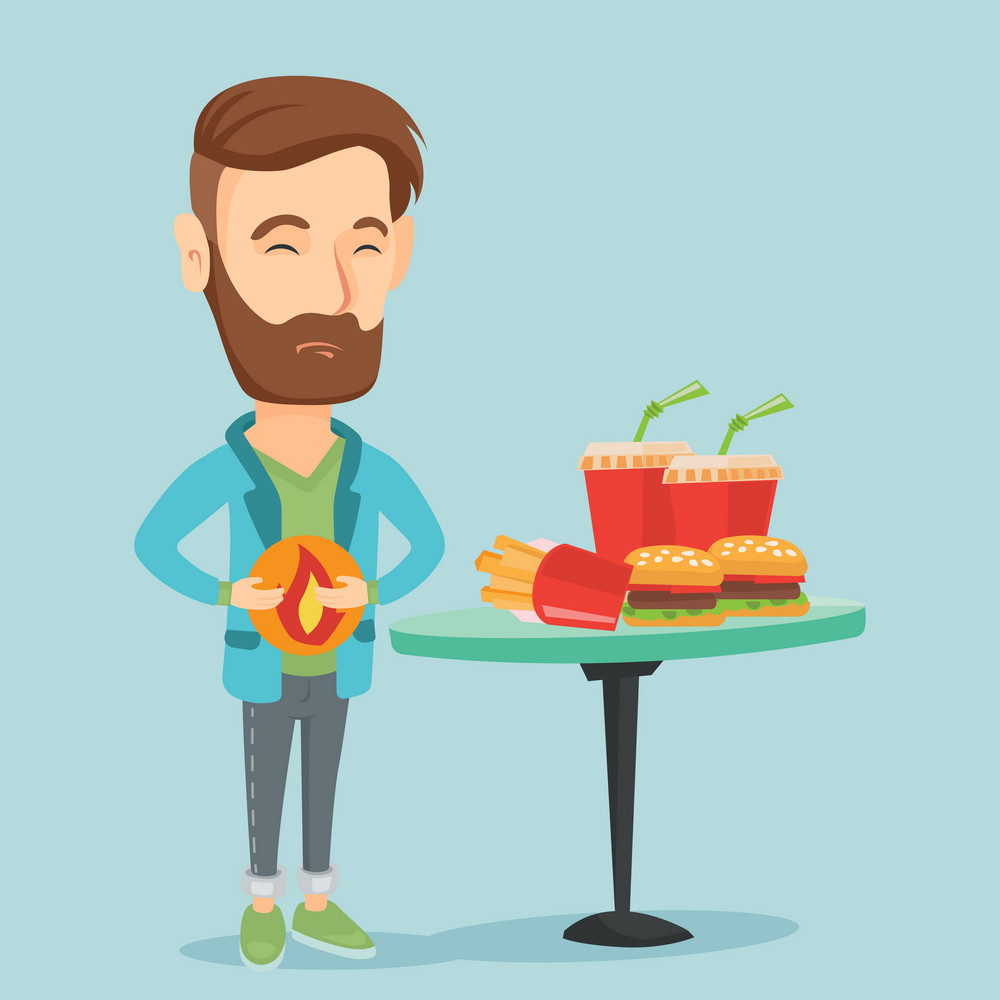 Caucasian sad man having stomach ache from heartburn. Young man suffering from heartburn. Upset man having stomach ache after fast food. Vector flat design illustration. Square layout.