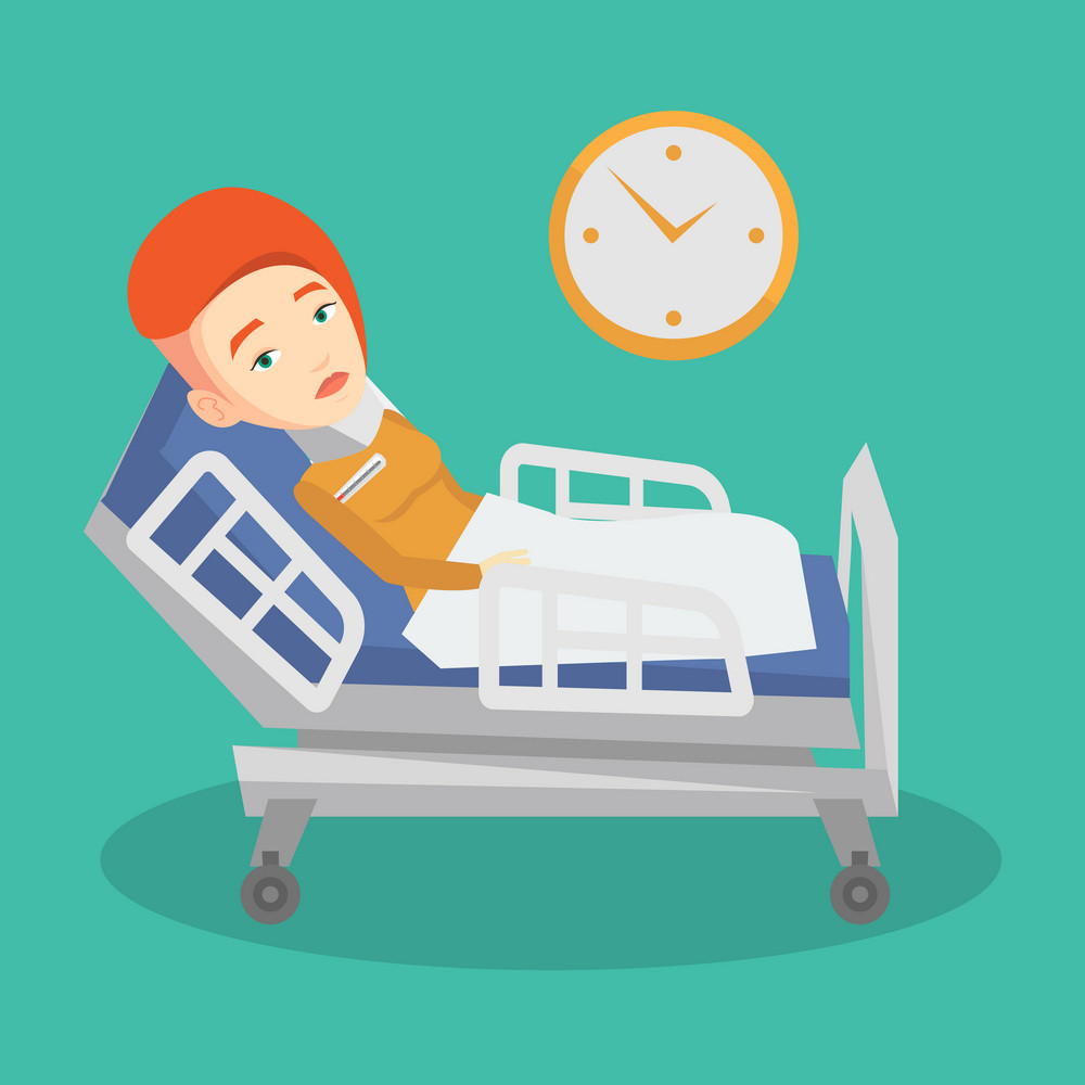Caucasian sad woman wearing cervical collar and suffering from neck pain. Female patient with injured neck lying in bed. Young woman with neck brace. Vector flat design illustration. Square layout.