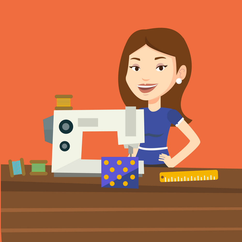 Caucasian seamstress working in a cloth factory. Happy seamstress sewing on an industrial sewing machine. Seamstress using sewing machine at workshop. Vector flat design illustration. Square layout.