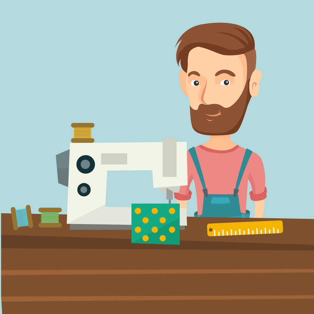 Caucasian seamstress working in a cloth factory. Male seamstress sewing on an industrial sewing machine. Seamstress using sewing machine at workshop. Vector flat design illustration. Square layout.