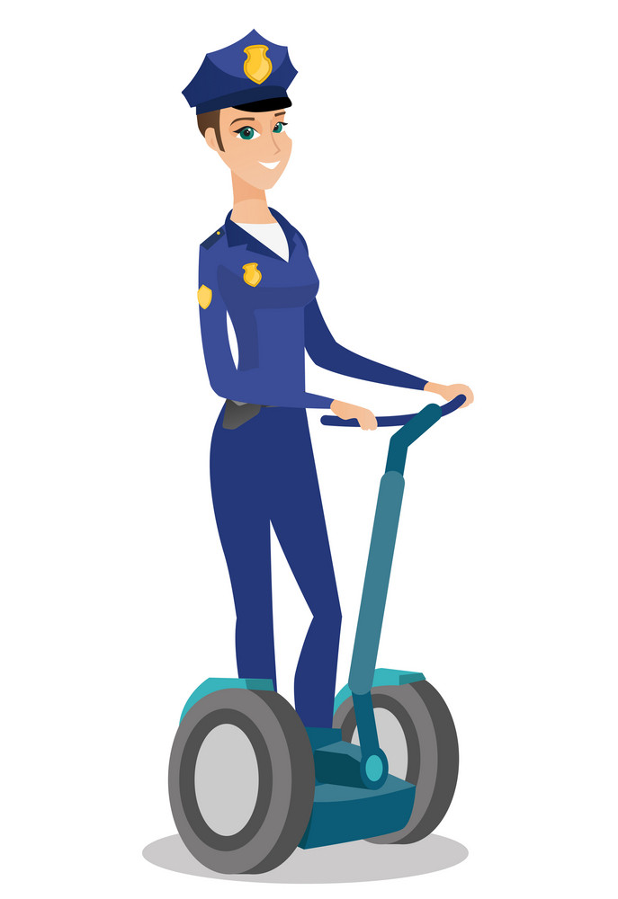 Caucasian security guard in uniform standing on an electrical scooter. Full length of female security guard riding electrical scooter. Vector flat design illustration isolated on white background.