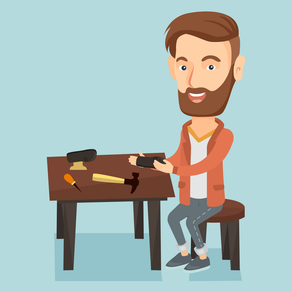 Caucasian shoemaker working with a shoe in workshop. Shoemaker repairing a shoe in workshop. Young shoemaker making handmade shoes in workshop. Vector flat design illustration. Square layout.