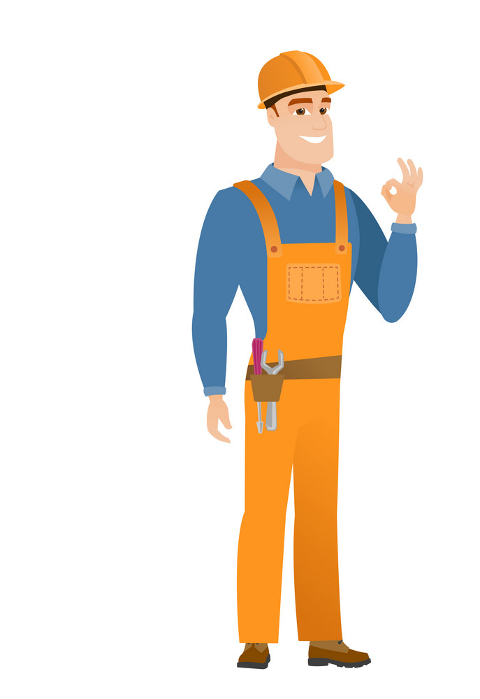 Caucasian smiling builder showing ok sign. Young cheerful builder making ok sign. Successful happy builder gesturing ok sign. Vector flat design illustration isolated on white background