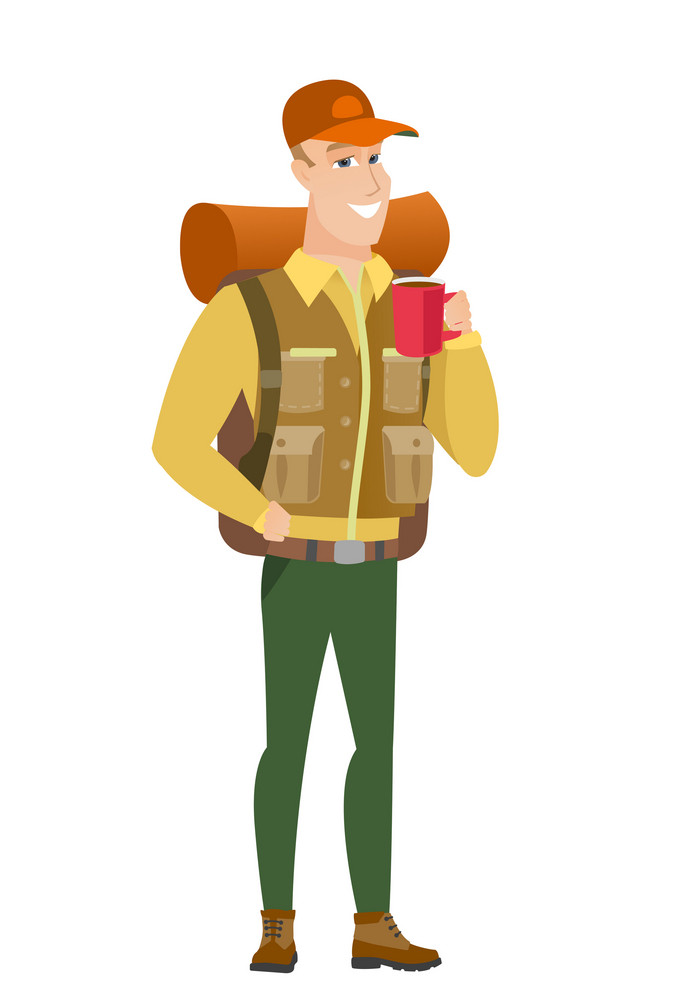 Caucasian smiling traveler holding cup of coffee. Full length of young traveler drinking coffee. Happy traveler with cup of coffee. Vector flat design illustration isolated on white background.