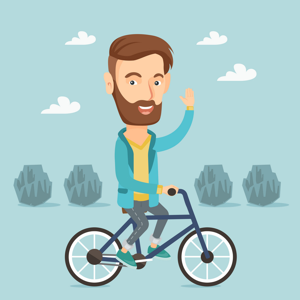 Caucasian sportive man riding a bicycle in the park. Cyclist riding bicycle and waving hand. Young man on a bicycle outdoors. Healthy lifestyle concept. Vector flat design illustration. Square layout.