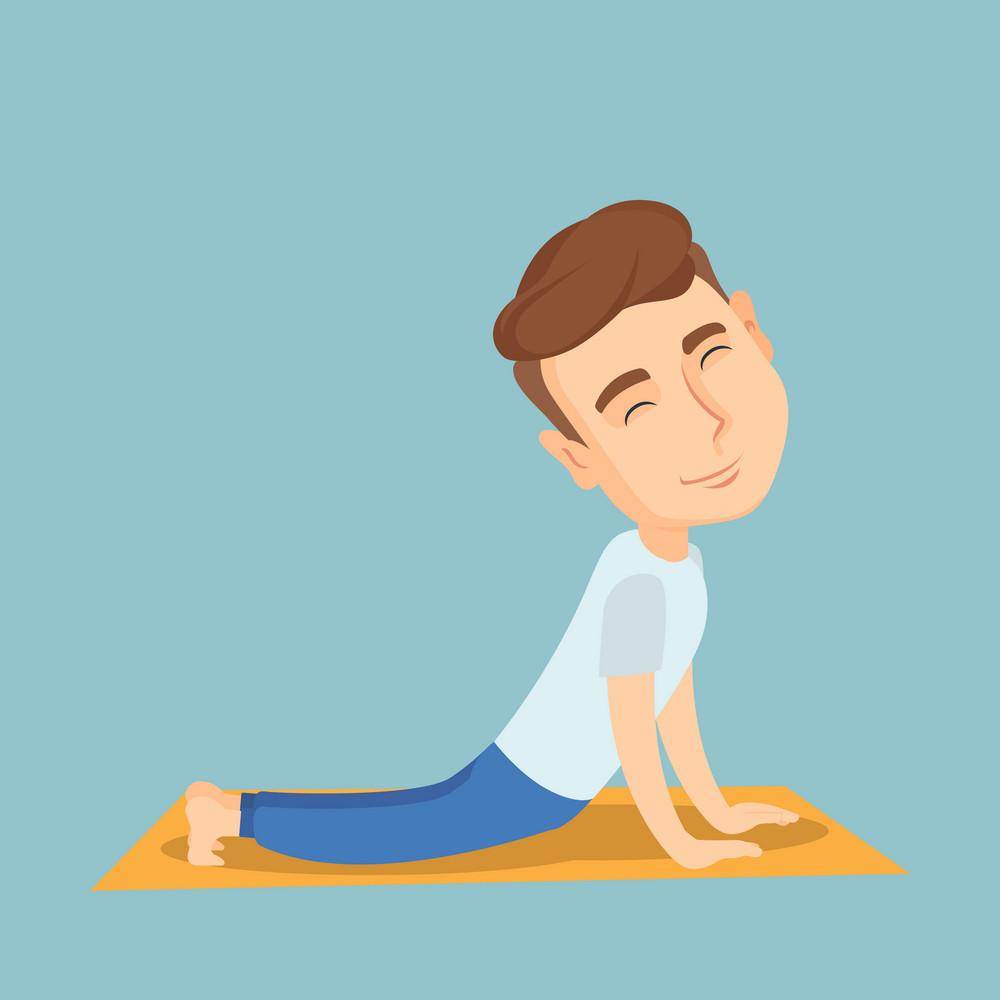 Caucasian sportsman meditating in yoga upward dog position. Young happy sportsman practicing yoga upward dog pose. Sporty man doing yoga on the mat. Vector flat design illustration. Square layout.