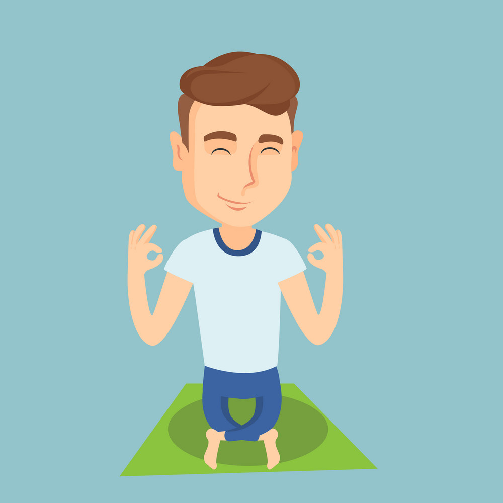 Caucasian sportsman relaxing in the yoga lotus position. Young sportsman meditating in yoga lotus pose. Sporty man doing yoga on the mat. Vector flat design illustration. Square layout.