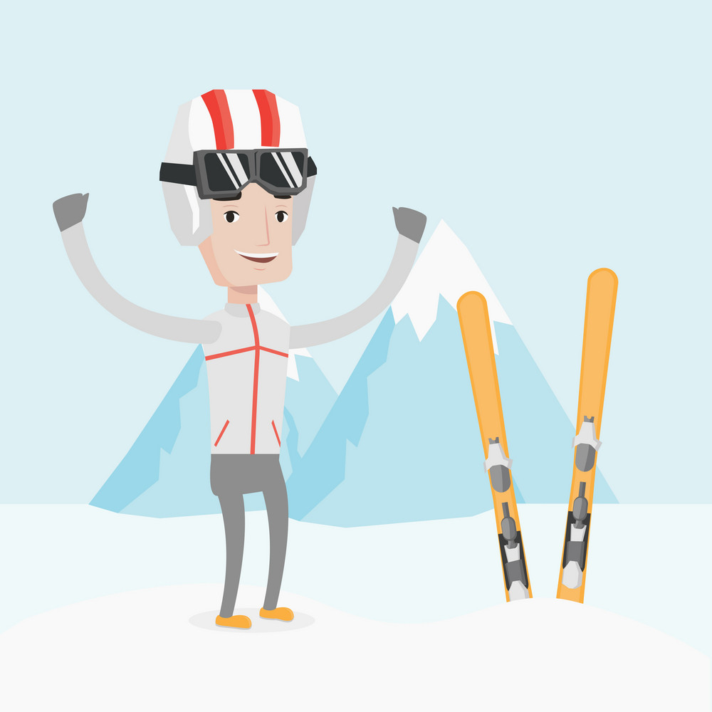 Caucasian sportsman standing with skis on the background of snowy mountains. Young man skiing. Cheerful skier resting in the mountains during sunny day. Vector flat design illustration. Square layout