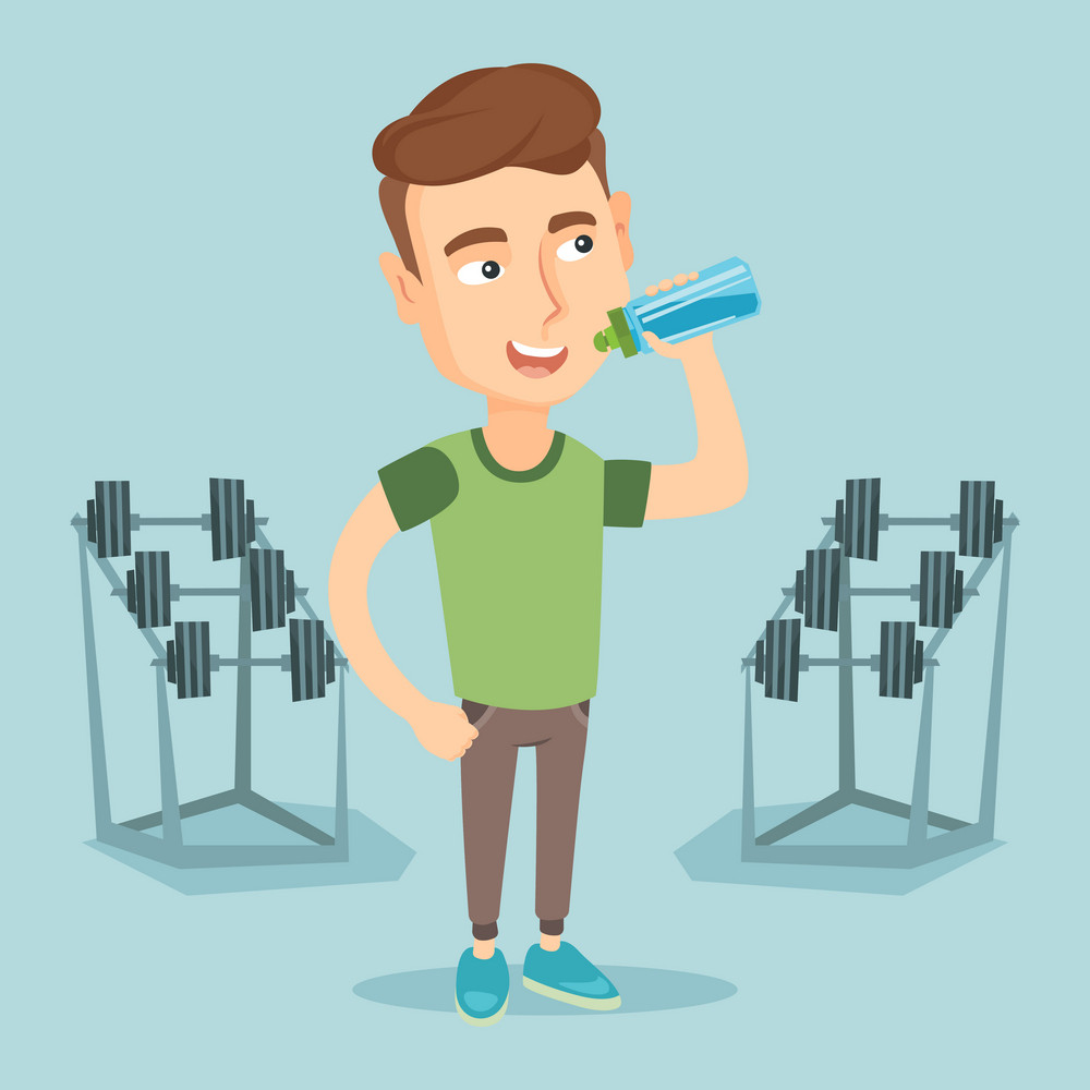 Caucasian sporty man drinking water. Young man standing with bottle of water in the gym. Smiling sportsman drinking water from the bottle. Vector flat design illustration. Square layout.