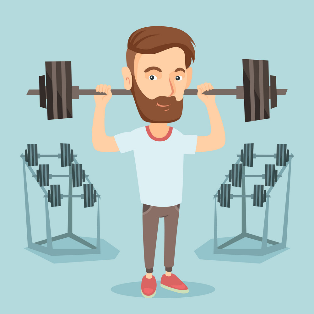 Caucasian sporty man lifting a heavy weight barbell. Strong sportsman doing exercise with barbell. Hipster weightlifter holding a barbell in the gym. Vector flat design illustration. Square layout.