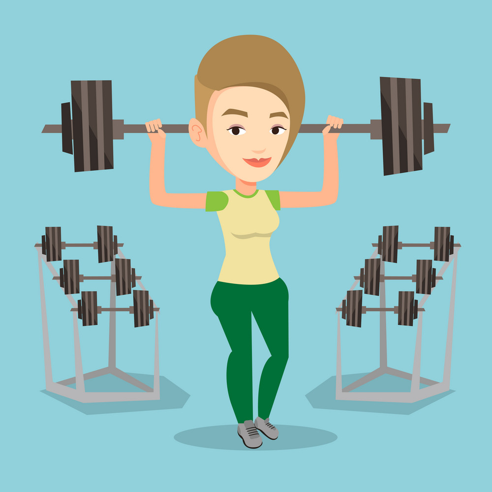 Caucasian sporty woman lifting a heavy weight barbell. Strong sportswoman doing exercise with barbell. Female weightlifter holding a barbell in the gym. Vector flat design illustration. Square layout.